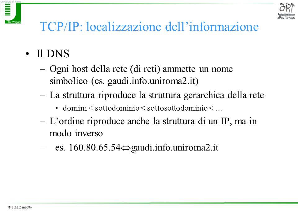 © F.M.Zanzotto TCP/IP: localizzazione dell'informazione Il DNS –Ogni host della rete (di reti) ammette un nome simbolico (es.