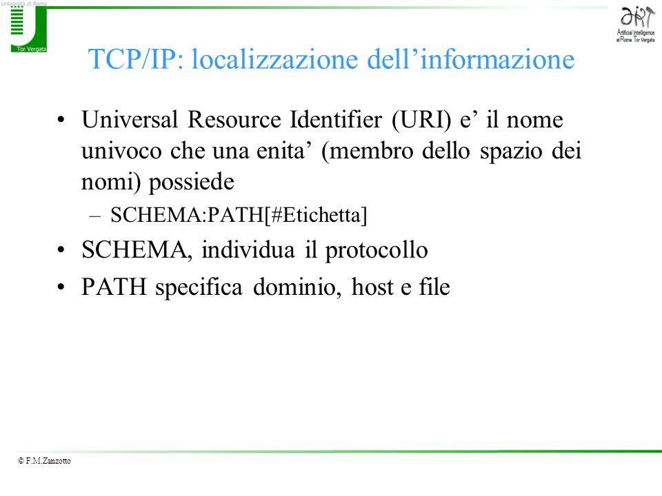 © F.M.Zanzotto TCP/IP: localizzazione dell'informazione Universal Resource Identifier (URI) e' il nome univoco che una enita' (membro dello spazio dei nomi) possiede –SCHEMA:PATH[#Etichetta] SCHEMA, individua il protocollo PATH specifica dominio, host e file