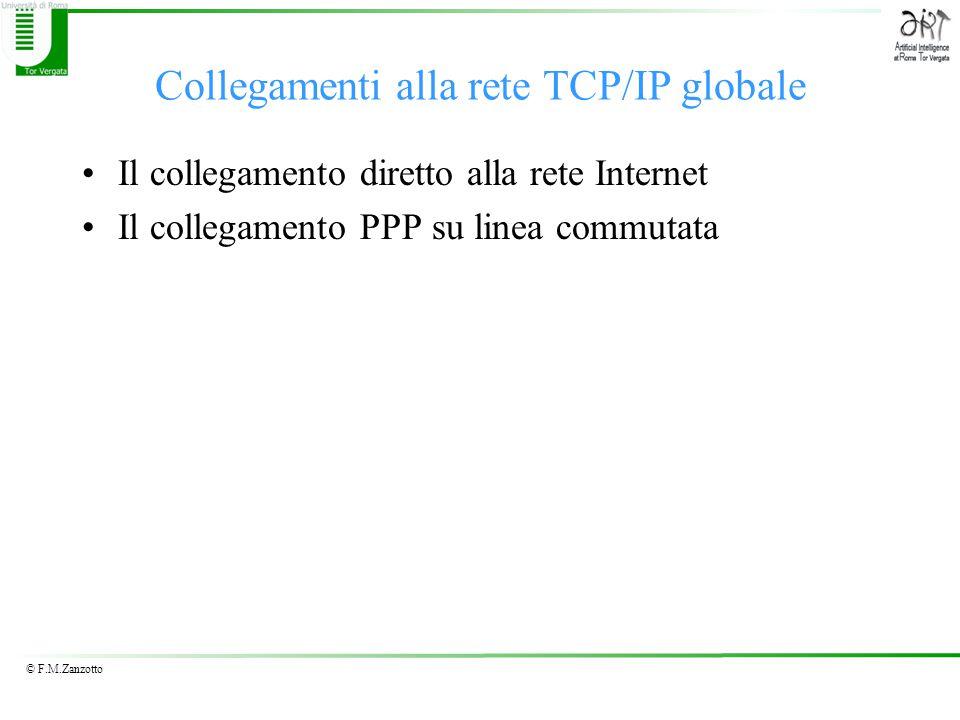 © F.M.Zanzotto Collegamenti alla rete TCP/IP globale Il collegamento diretto alla rete Internet Il collegamento PPP su linea commutata