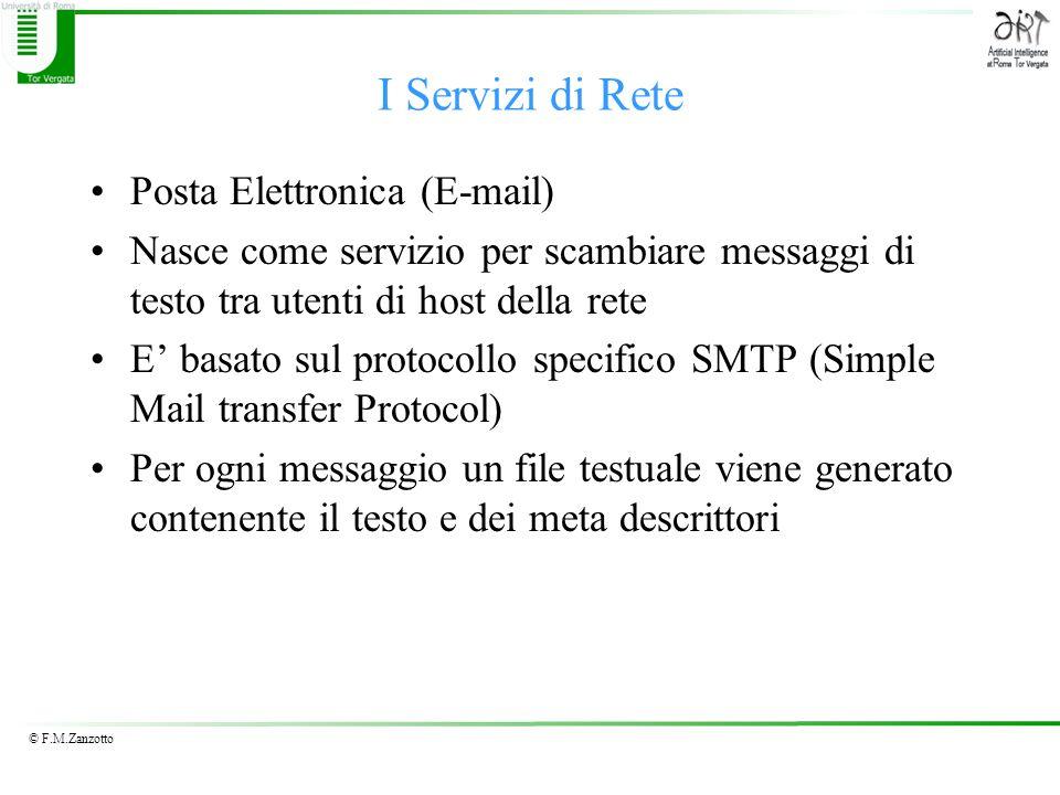 I Servizi di Rete Posta Elettronica (E-mail) Nasce come servizio per scambiare messaggi di testo tra utenti di host della rete E' basato sul protocollo specifico SMTP (Simple Mail transfer Protocol) Per ogni messaggio un file testuale viene generato contenente il testo e dei meta descrittori