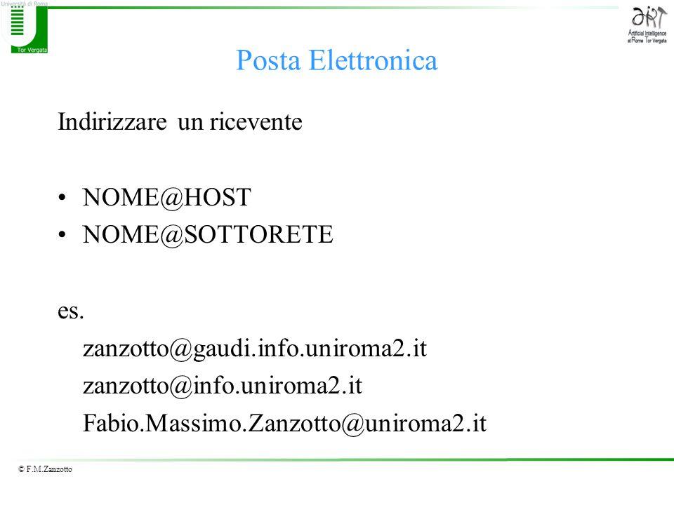© F.M.Zanzotto Posta Elettronica Indirizzare un ricevente NOME@HOST NOME@SOTTORETE es.