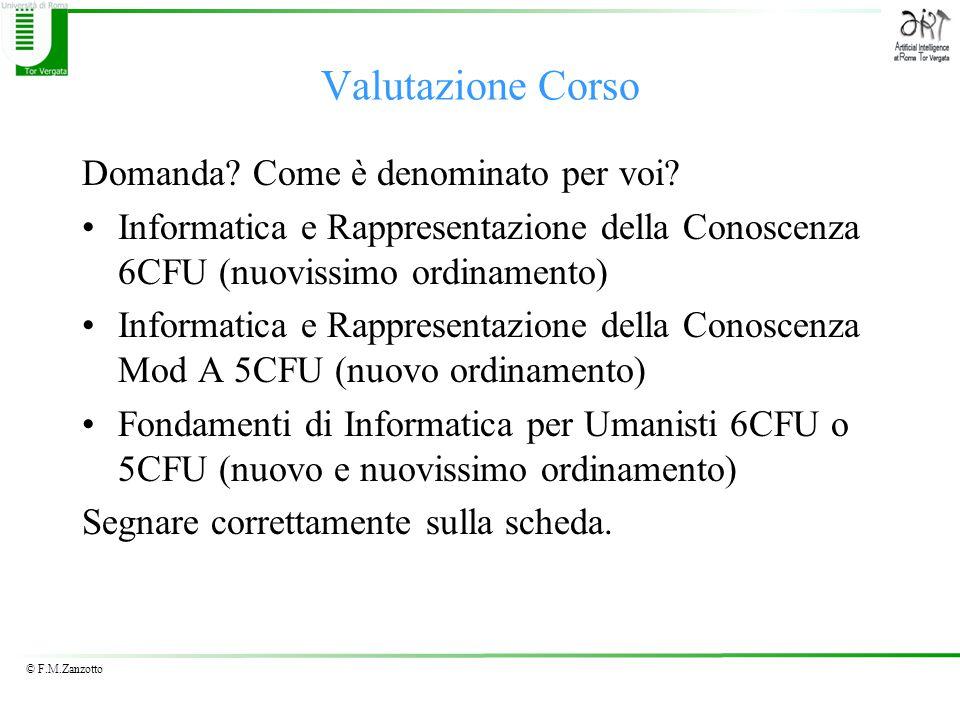© F.M.Zanzotto Valutazione Corso Domanda. Come è denominato per voi.