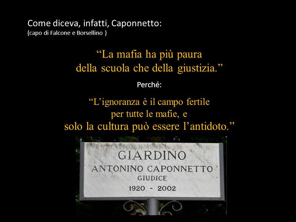Come diceva, infatti, Caponnetto: (capo di Falcone e Borsellino ) La mafia ha più paura della scuola che della giustizia. Perché: L'ignoranza è il campo fertile per tutte le mafie, e solo la cultura può essere l'antidoto.