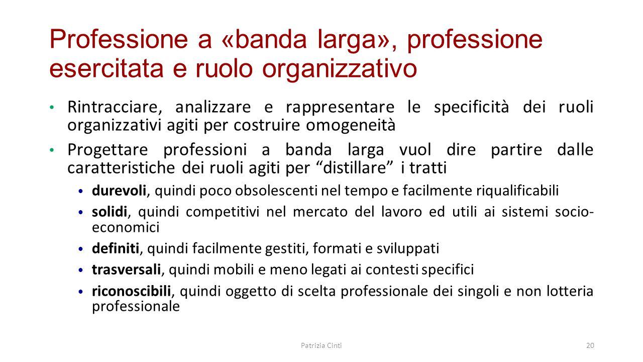 Professione a «banda larga», professione esercitata e ruolo organizzativo Rintracciare, analizzare e rappresentare le specificità dei ruoli organizzat