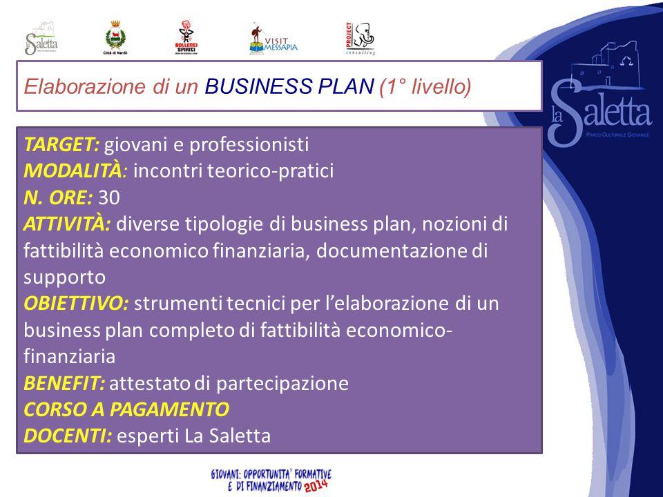 Elaborazione di un BUSINESS PLAN (1° livello) TARGET: giovani e professionisti MODALITÀ: incontri teorico-pratici N.