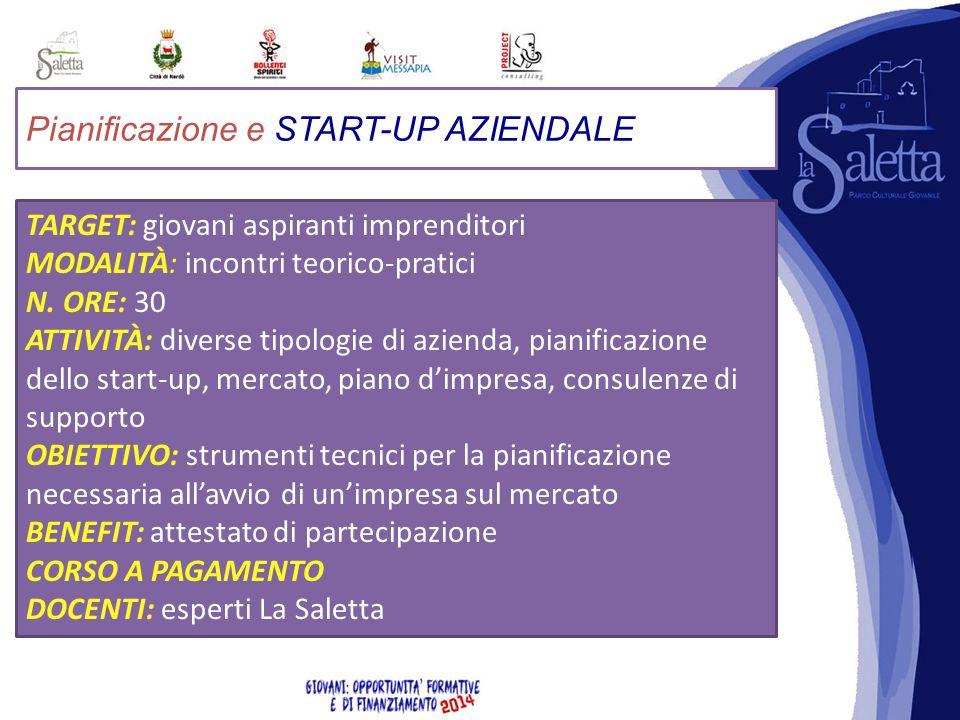 Pianificazione e START-UP AZIENDALE TARGET: giovani aspiranti imprenditori MODALITÀ: incontri teorico-pratici N.
