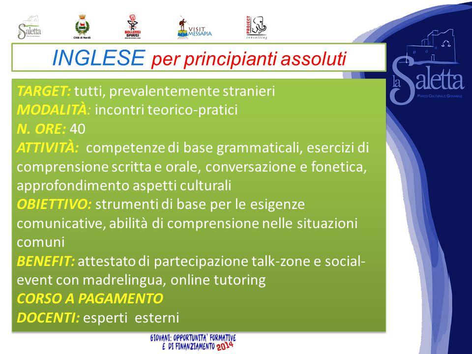 INGLESE per principianti assoluti TARGET: tutti, prevalentemente stranieri MODALITÀ: incontri teorico-pratici N.