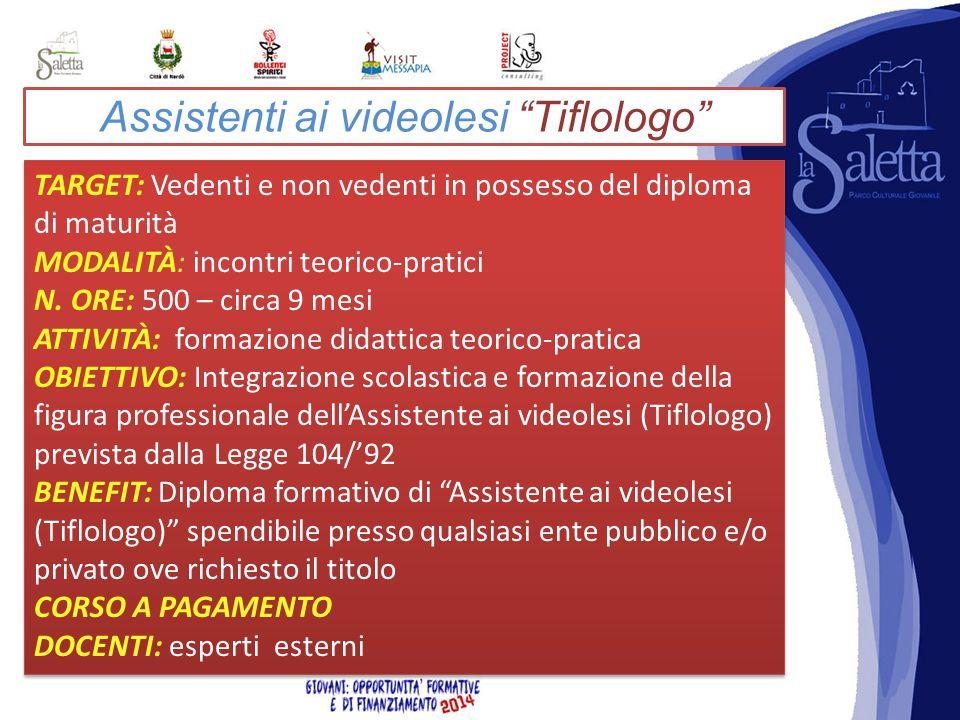 Assistenti ai videolesi Tiflologo TARGET: Vedenti e non vedenti in possesso del diploma di maturità MODALITÀ: incontri teorico-pratici N.