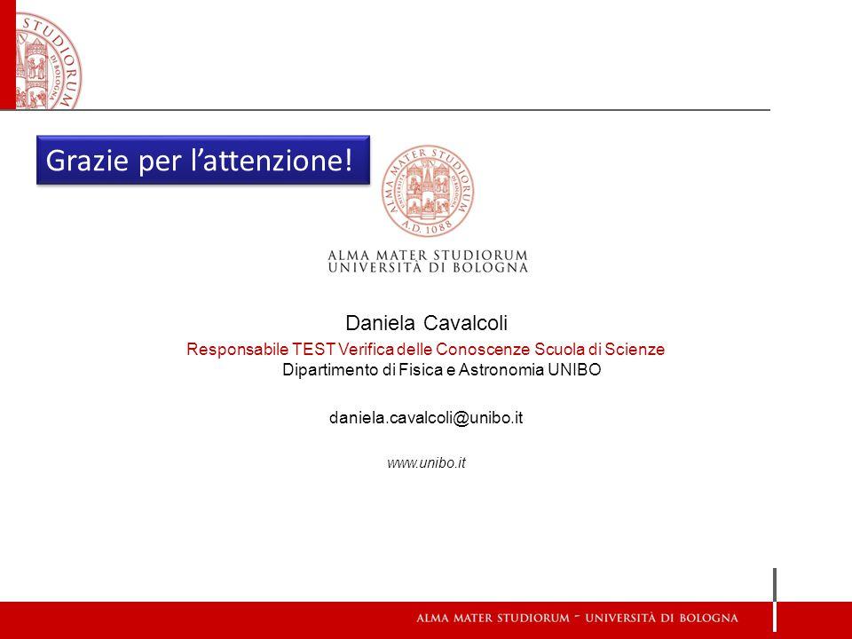 Daniela Cavalcoli Responsabile TEST Verifica delle Conoscenze Scuola di Scienze Dipartimento di Fisica e Astronomia UNIBO daniela.cavalcoli@unibo.it www.unibo.it Grazie per l'attenzione!