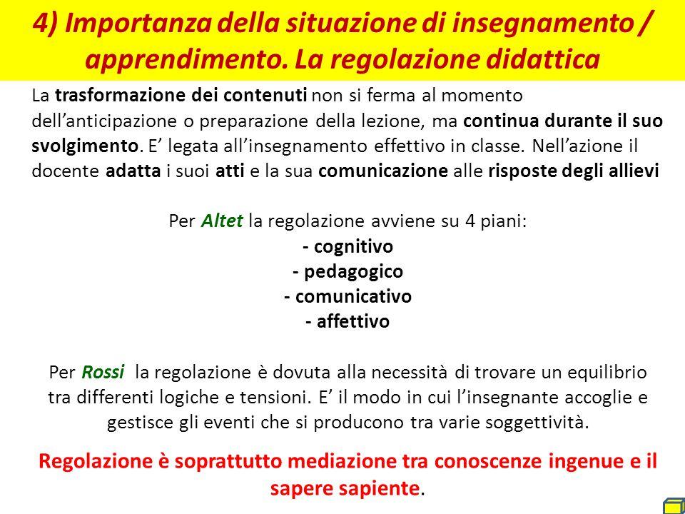 4) Importanza della situazione di insegnamento / apprendimento. La regolazione didattica La trasformazione dei contenuti non si ferma al momento dell'