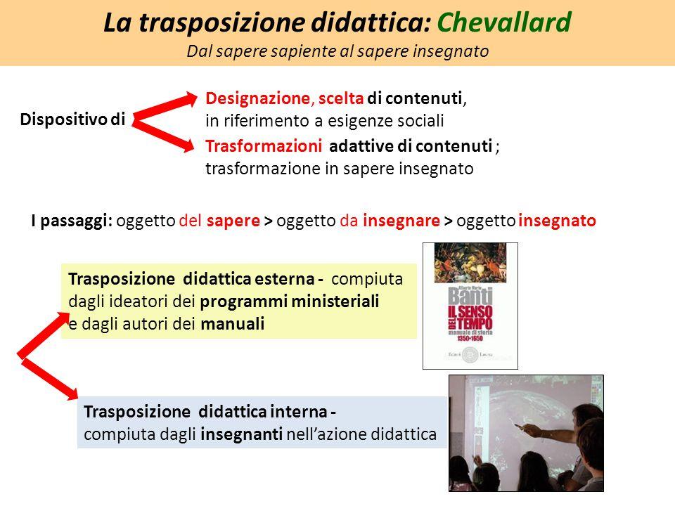 Dispositivo di La trasposizione didattica: Chevallard Dal sapere sapiente al sapere insegnato Designazione, scelta di contenuti, in riferimento a esig