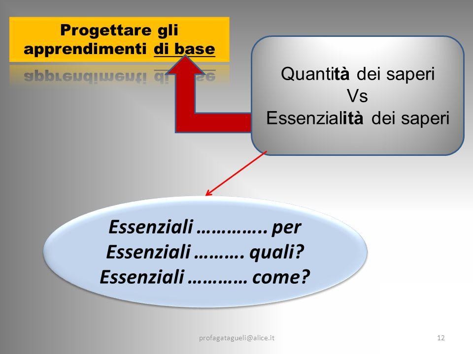 12 Quantità dei saperi Vs Essenzialità dei saperi profagatagueli@alice.it Essenziali …………..