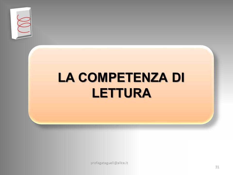 profagatagueli@alice.it 31 LA COMPETENZA DI LETTURA