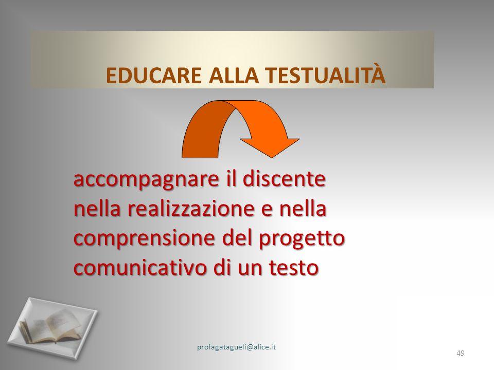 EDUCARE ALLA TESTUALITÀ accompagnare il discente nella realizzazione e nella comprensione del progetto comunicativo di un testo profagatagueli@alice.it 49