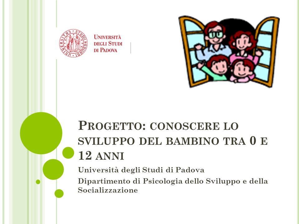 P ROGETTO : CONOSCERE LO SVILUPPO DEL BAMBINO TRA 0 E 12 ANNI Università degli Studi di Padova Dipartimento di Psicologia dello Sviluppo e della Socializzazione