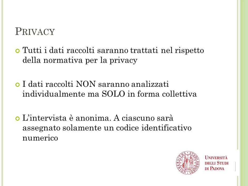 P RIVACY Tutti i dati raccolti saranno trattati nel rispetto della normativa per la privacy I dati raccolti NON saranno analizzati individualmente ma SOLO in forma collettiva L'intervista è anonima.