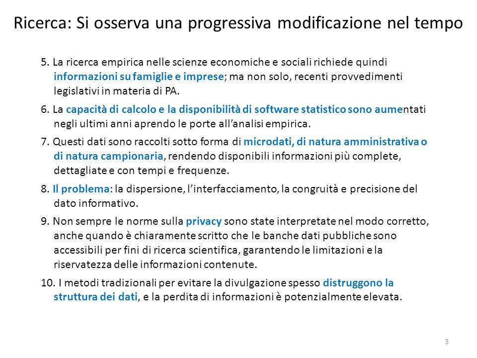 Ricerca: Si osserva una progressiva modificazione nel tempo 5. La ricerca empirica nelle scienze economiche e sociali richiede quindi informazioni su