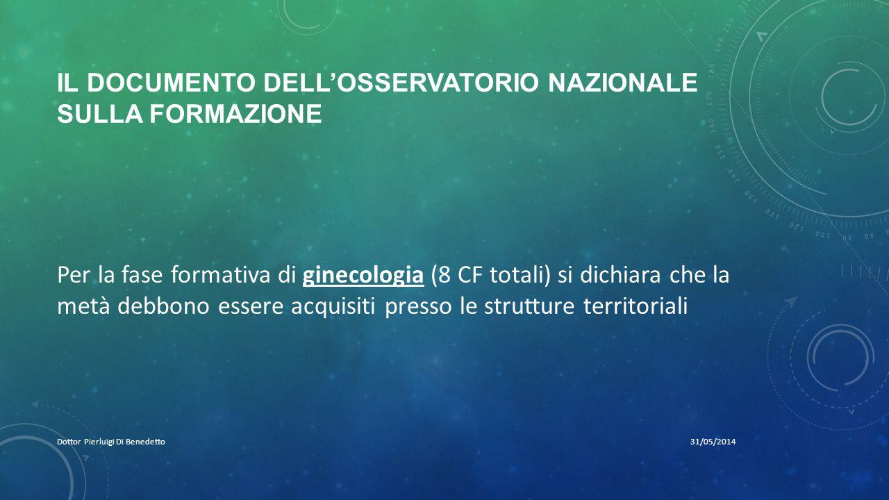 IL DOCUMENTO DELL'OSSERVATORIO NAZIONALE SULLA FORMAZIONE 31/05/2014Dottor Pierluigi Di Benedetto Per la fase formativa di ginecologia (8 CF totali) s