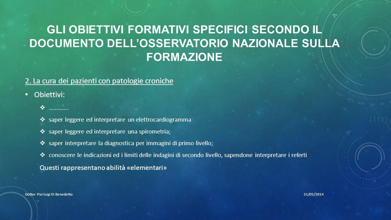 GLI OBIETTIVI FORMATIVI SPECIFICI SECONDO IL DOCUMENTO DELL'OSSERVATORIO NAZIONALE SULLA FORMAZIONE 31/05/2014Dottor Pierluigi Di Benedetto 2.