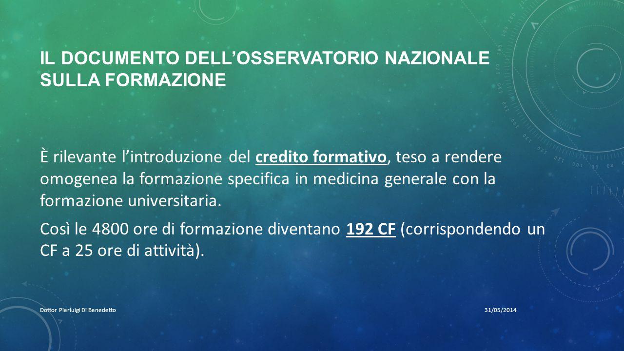 IL DOCUMENTO DELL'OSSERVATORIO NAZIONALE SULLA FORMAZIONE 31/05/2014Dottor Pierluigi Di Benedetto È rilevante l'introduzione del credito formativo, te