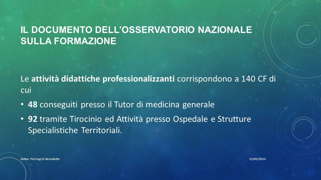 IL DOCUMENTO DELL'OSSERVATORIO NAZIONALE SULLA FORMAZIONE 31/05/2014Dottor Pierluigi Di Benedetto Le attività didattiche professionalizzanti corrispon