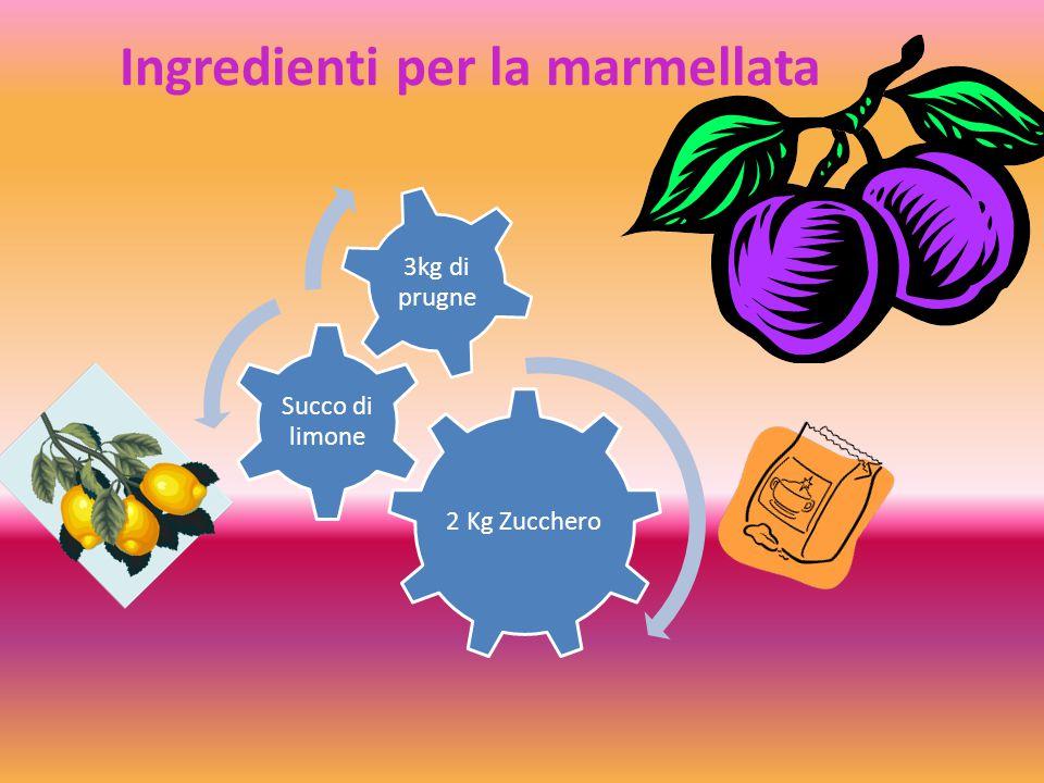 Ingredienti per la marmellata 2 Kg Zucchero Succo di limone 3kg di prugne