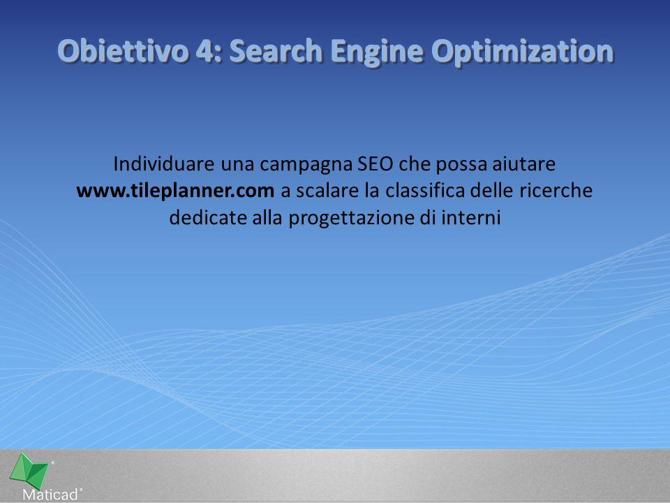 Obiettivo 4: Search Engine Optimization Individuare una campagna SEO che possa aiutare www.tileplanner.com a scalare la classifica delle ricerche dedicate alla progettazione di interni