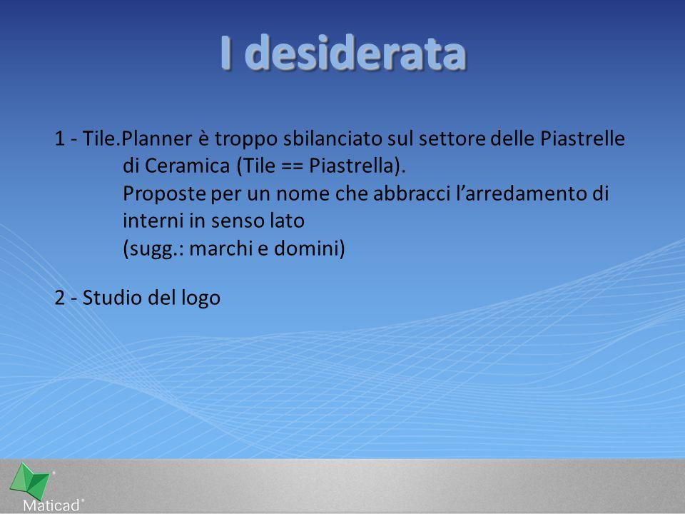 I desiderata 1 - Tile.Planner è troppo sbilanciato sul settore delle Piastrelle di Ceramica (Tile == Piastrella). Proposte per un nome che abbracci l'