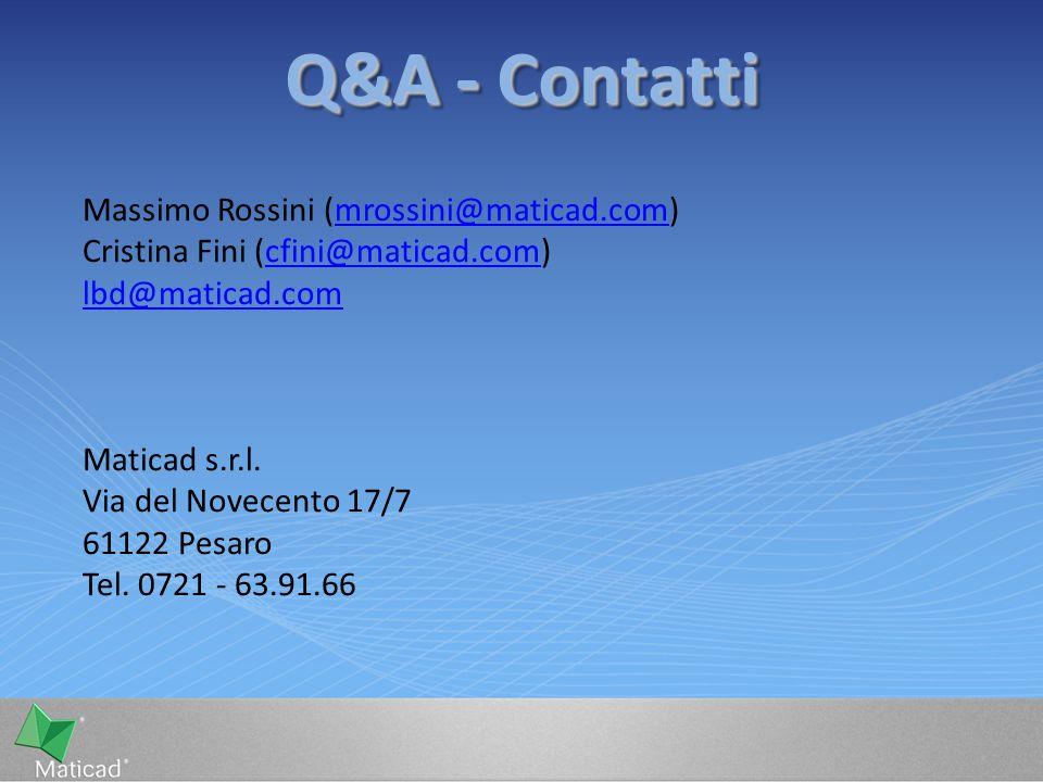 Q&A - Contatti Massimo Rossini (mrossini@maticad.com)mrossini@maticad.com Cristina Fini (cfini@maticad.com)cfini@maticad.com lbd@maticad.com Maticad s