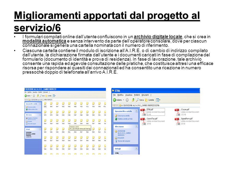 Miglioramenti apportati dal progetto al servizio/6 I formulari compilati online dall'utente confluiscono in un archivio digitale locale, che si crea i