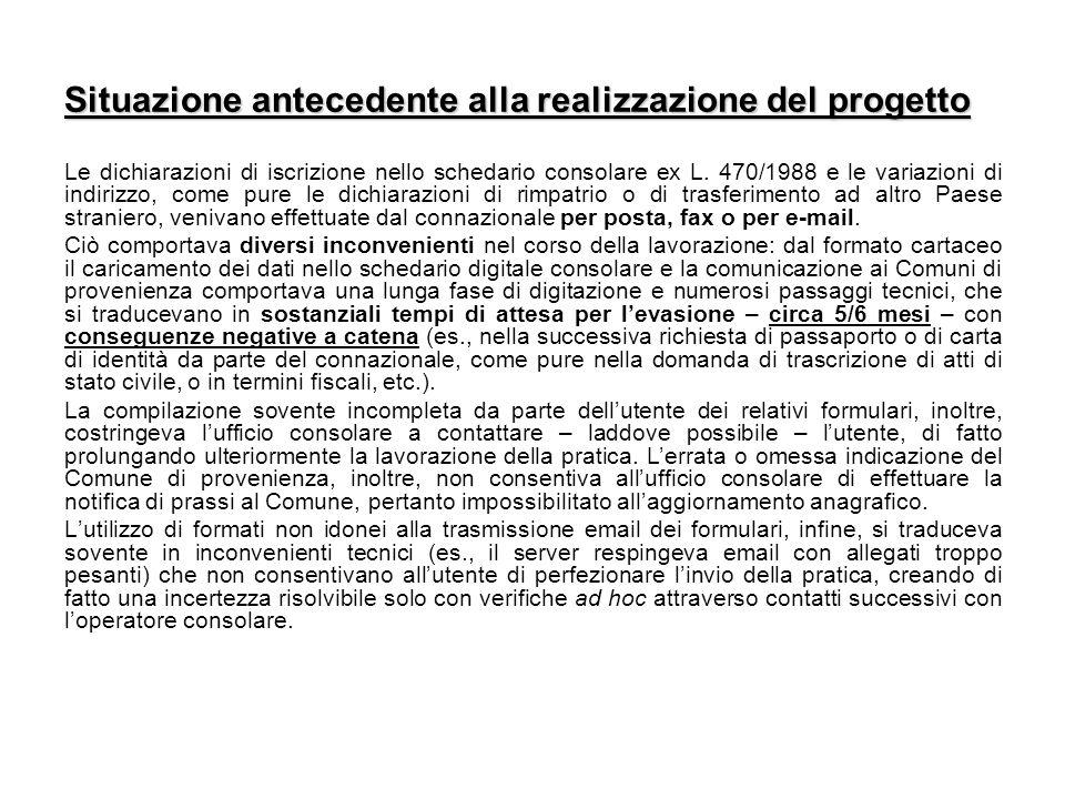Situazione antecedente alla realizzazione del progetto Le dichiarazioni di iscrizione nello schedario consolare ex L. 470/1988 e le variazioni di indi
