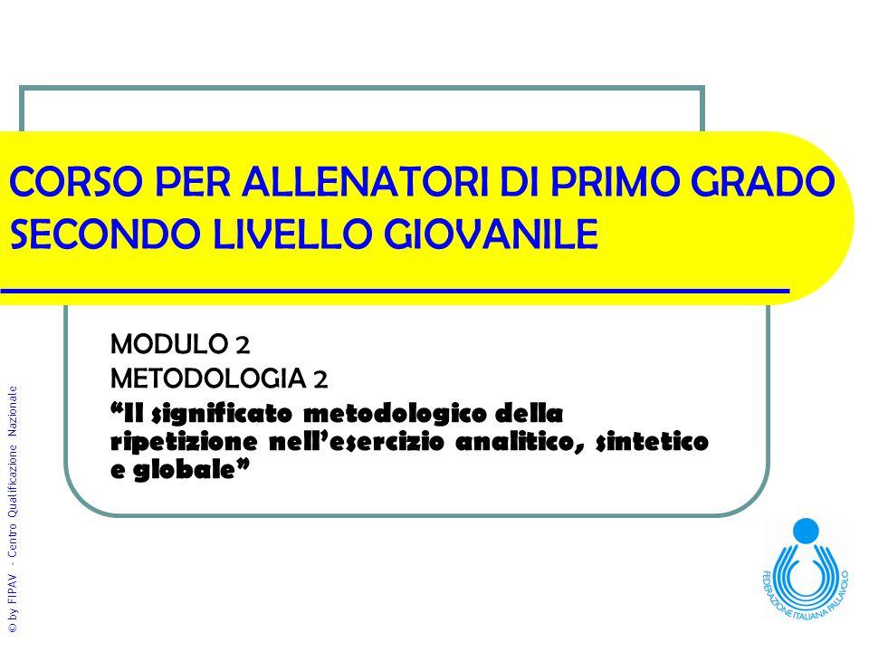 """© by FIPAV - Centro Qualificazione Nazionale CORSO PER ALLENATORI DI PRIMO GRADO SECONDO LIVELLO GIOVANILE MODULO 2 METODOLOGIA 2 """"Il significato meto"""