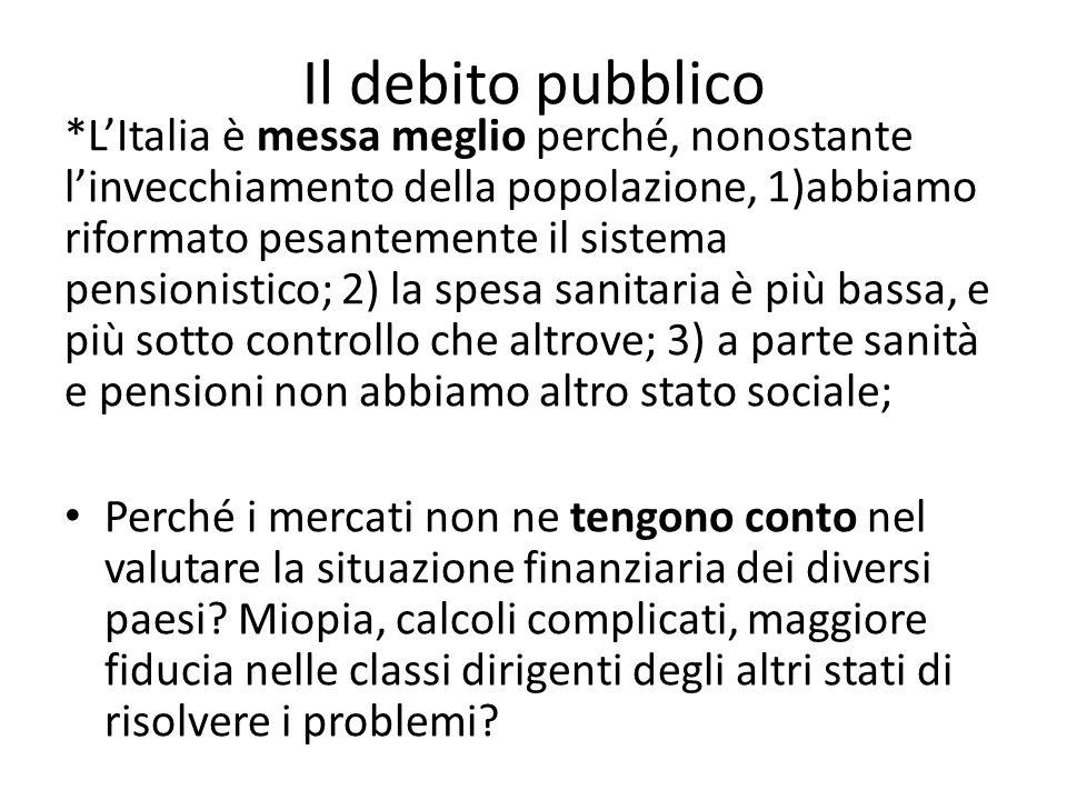 *L'Italia è messa meglio perché, nonostante l'invecchiamento della popolazione, 1)abbiamo riformato pesantemente il sistema pensionistico; 2) la spesa sanitaria è più bassa, e più sotto controllo che altrove; 3) a parte sanità e pensioni non abbiamo altro stato sociale; Perché i mercati non ne tengono conto nel valutare la situazione finanziaria dei diversi paesi.