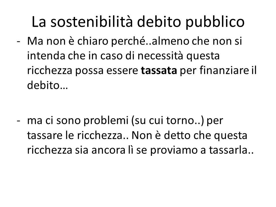 -Ma non è chiaro perché..almeno che non si intenda che in caso di necessità questa ricchezza possa essere tassata per finanziare il debito… -ma ci sono problemi (su cui torno..) per tassare le ricchezza..