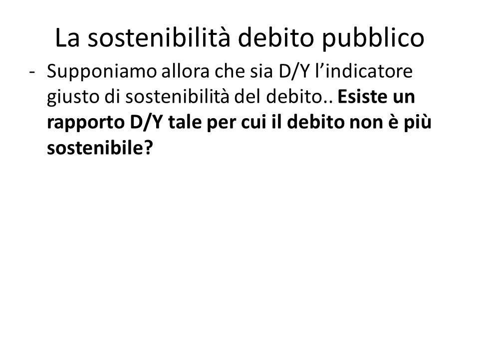 -Supponiamo allora che sia D/Y l'indicatore giusto di sostenibilità del debito..