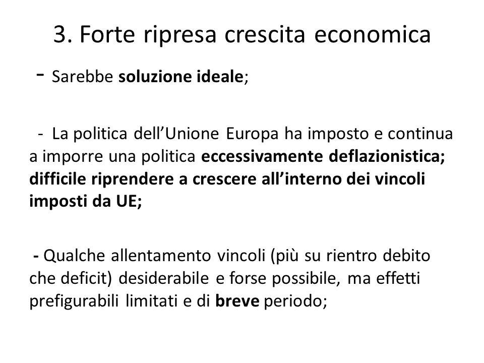 - Sarebbe soluzione ideale; - La politica dell'Unione Europa ha imposto e continua a imporre una politica eccessivamente deflazionistica; difficile riprendere a crescere all'interno dei vincoli imposti da UE; - Qualche allentamento vincoli (più su rientro debito che deficit) desiderabile e forse possibile, ma effetti prefigurabili limitati e di breve periodo; 3.