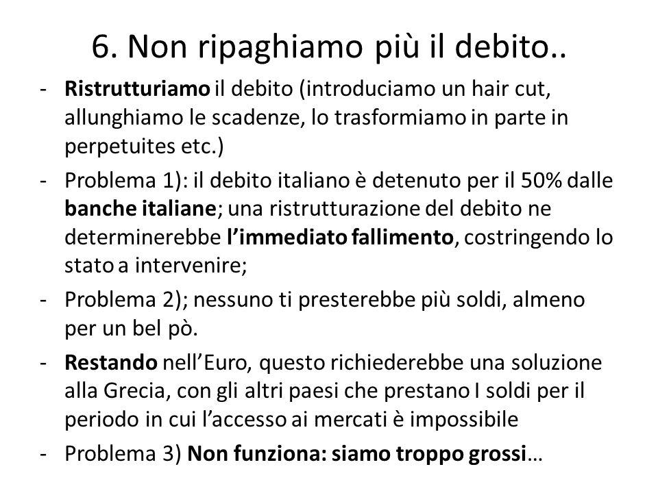 -Ristrutturiamo il debito (introduciamo un hair cut, allunghiamo le scadenze, lo trasformiamo in parte in perpetuites etc.) -Problema 1): il debito italiano è detenuto per il 50% dalle banche italiane; una ristrutturazione del debito ne determinerebbe l'immediato fallimento, costringendo lo stato a intervenire; -Problema 2); nessuno ti presterebbe più soldi, almeno per un bel pò.