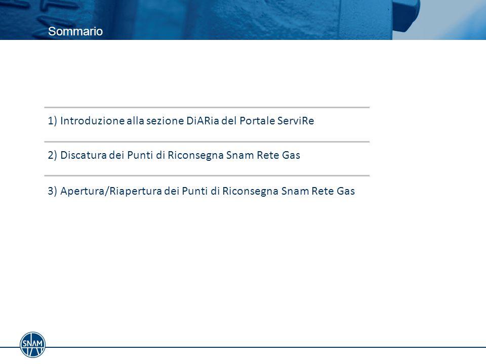 Sommario 3) Apertura/Riapertura dei Punti di Riconsegna Snam Rete Gas 2) Discatura dei Punti di Riconsegna Snam Rete Gas 1) Introduzione alla sezione DiARia del Portale ServiRe