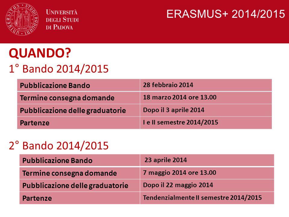 ERASMUS+ 2014/2015 QUANDO? 1° Bando 2014/2015 2° Bando 2014/2015 Pubblicazione Bando 28 febbraio 2014 Termine consegna domande 18 marzo 2014 ore 13.00