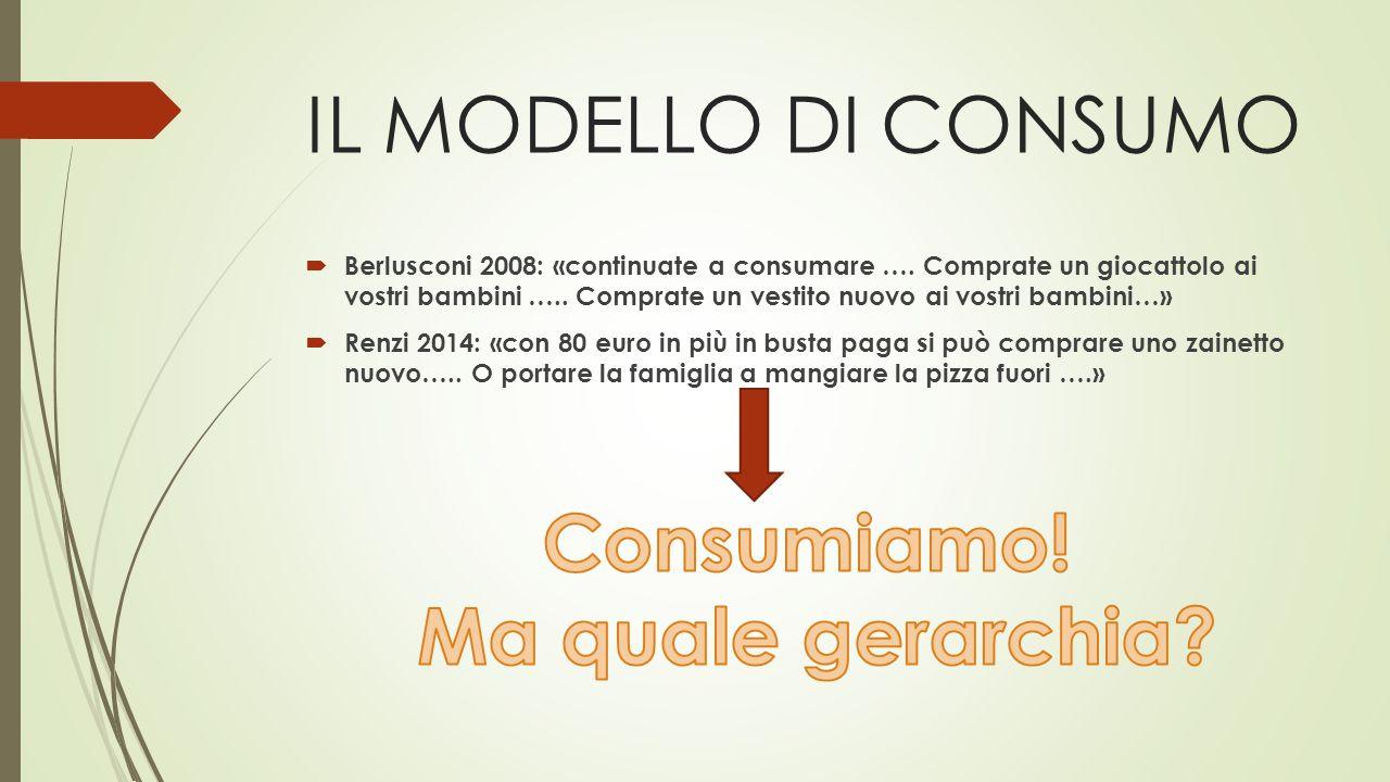 IL MODELLO DI CONSUMO  Berlusconi 2008: «continuate a consumare ….