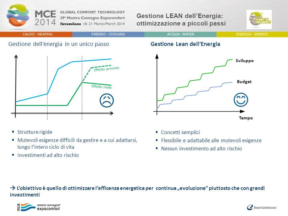Gestione LEAN dell'Energia: ottimizzazione a piccoli passi Gestione Lean dell'Energia  Concetti semplici  Flessibile e adattabile alle mutevoli esig
