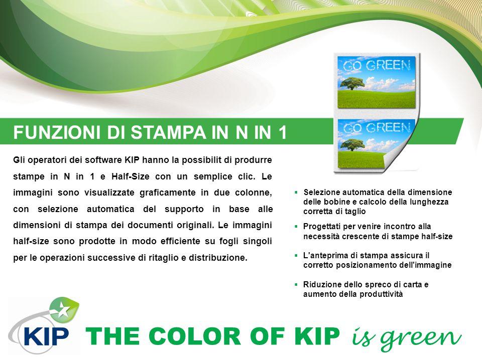 THE COLOR OF KIP is green FUNZIONI DI STAMPA IN N IN 1  Selezione automatica della dimensione delle bobine e calcolo della lunghezza corretta di tagl