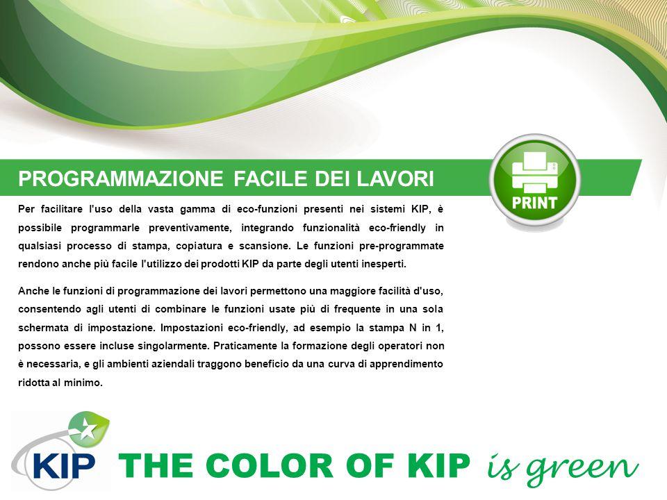 THE COLOR OF KIP is green PROGRAMMAZIONE FACILE DEI LAVORI Per facilitare l'uso della vasta gamma di eco-funzioni presenti nei sistemi KIP, è possibil