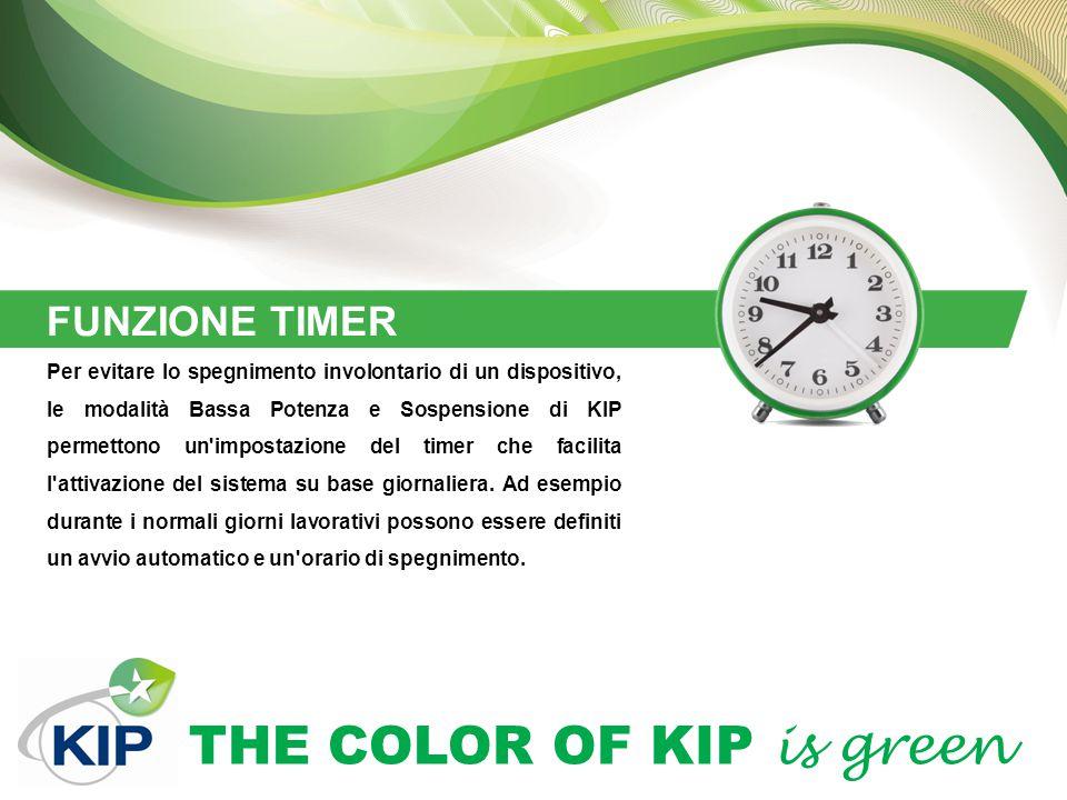 THE COLOR OF KIP is green FUNZIONE TIMER Per evitare lo spegnimento involontario di un dispositivo, le modalità Bassa Potenza e Sospensione di KIP permettono un impostazione del timer che facilita l attivazione del sistema su base giornaliera.