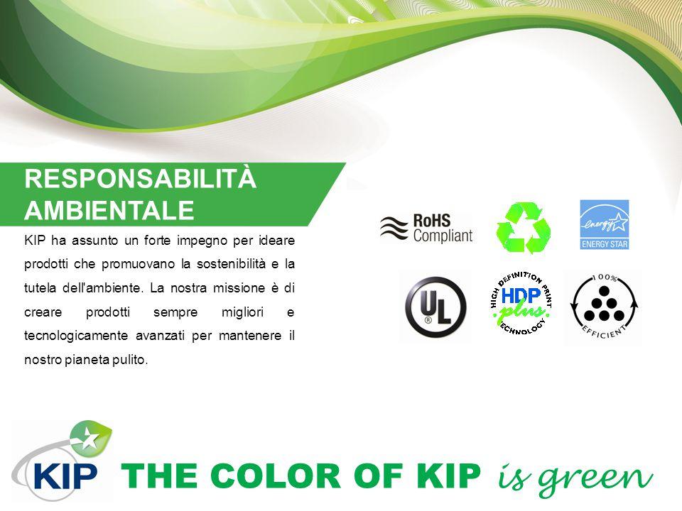THE COLOR OF KIP is green RESPONSABILITÀ AMBIENTALE KIP ha assunto un forte impegno per ideare prodotti che promuovano la sostenibilità e la tutela de
