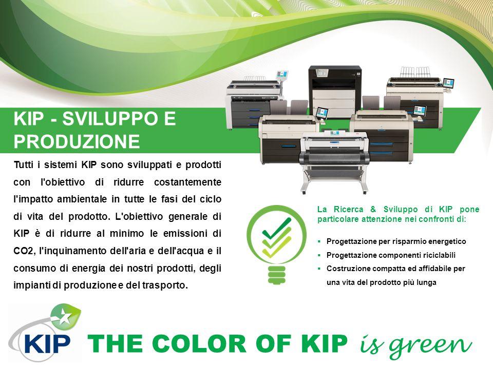 THE COLOR OF KIP is green KIP - SVILUPPO E PRODUZIONE Tutti i sistemi KIP sono sviluppati e prodotti con l'obiettivo di ridurre costantemente l'impatt