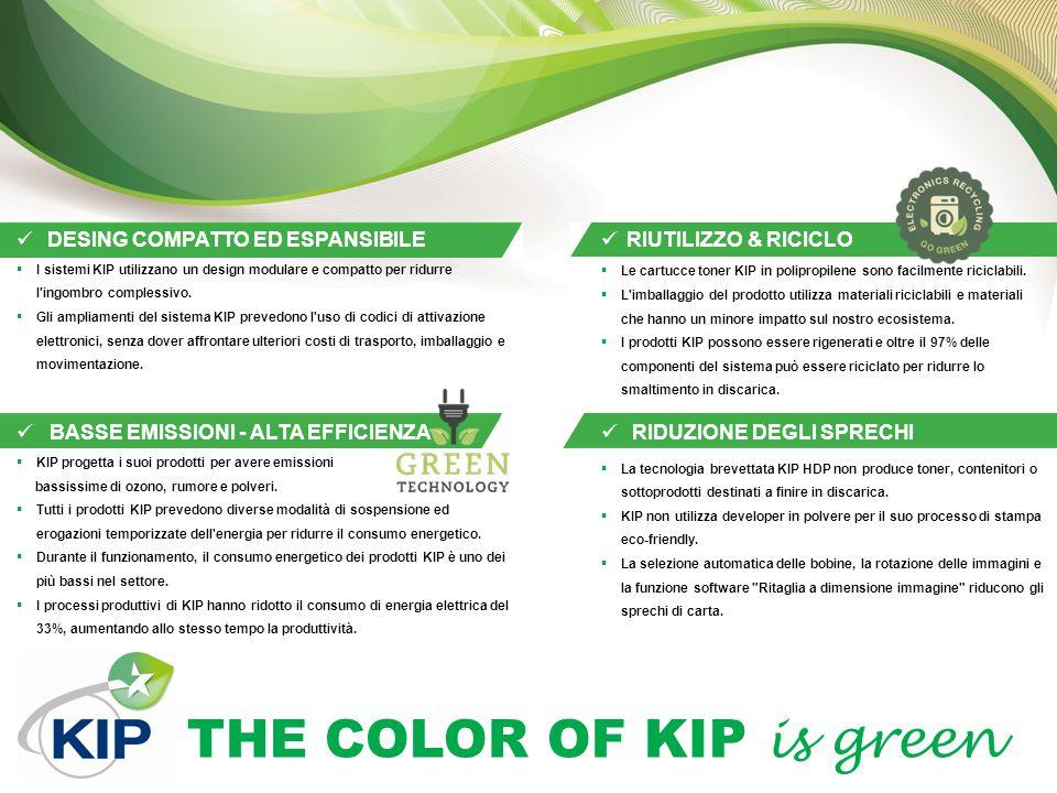 THE COLOR OF KIP is green PROGRAMMAZIONE FACILE DEI LAVORI Per facilitare l uso della vasta gamma di eco-funzioni presenti nei sistemi KIP, è possibile programmarle preventivamente, integrando funzionalità eco-friendly in qualsiasi processo di stampa, copiatura e scansione.