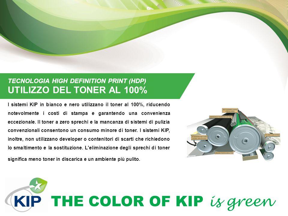 THE COLOR OF KIP is green TECNOLOGIA HIGH DEFINITION PRINT (HDP) UTILIZZO DEL TONER AL 100% I sistemi KIP in bianco e nero utilizzano il toner al 100%
