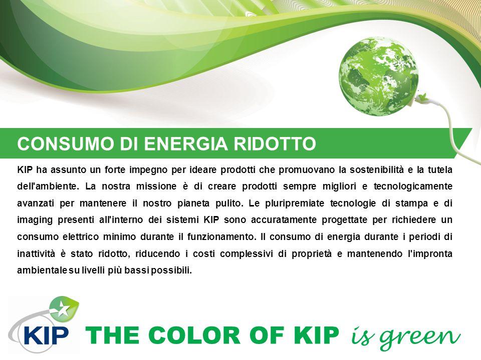 THE COLOR OF KIP is green CONSUMO DI ENERGIA RIDOTTO KIP ha assunto un forte impegno per ideare prodotti che promuovano la sostenibilità e la tutela d