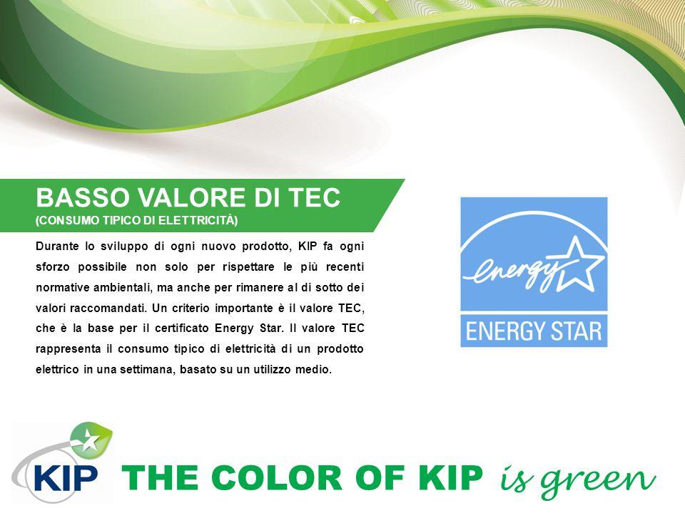 THE COLOR OF KIP is green BASSO VALORE DI TEC (CONSUMO TIPICO DI ELETTRICITÀ) Durante lo sviluppo di ogni nuovo prodotto, KIP fa ogni sforzo possibile